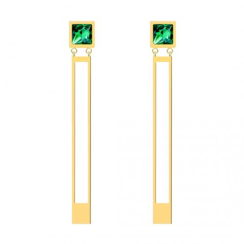 עגילי פלדה בציפוי זהב ממשפחת Straight עם קריסטל ירוק Preciosa 7393Y66